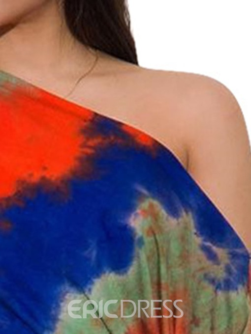 Ericdress Sexy Tie-Dye Bodycon Women's Suit T-Shirt And Skirt Two Piece Sets