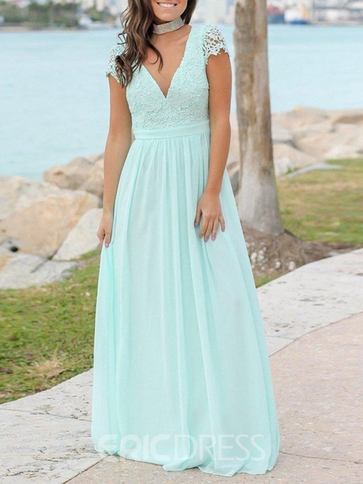 Ericdress Cap Sleeves Backless Lace Bridesmaid Dress