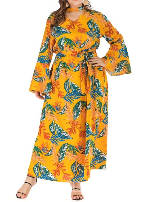 Ericdress Plus Size Flare Sleeve Print Ankle-Length A-Line Dress