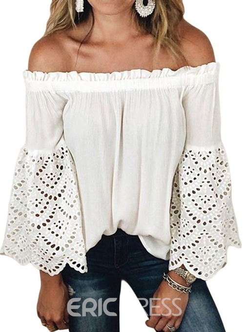 Ericdress Patchwork Off Shoulder Flare Sleeve Casual Blouse