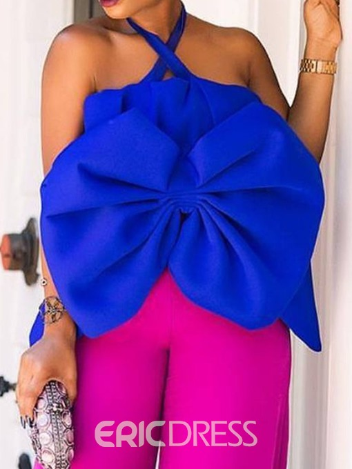 Ericdress Plain Off Shoulder Bowknot Sleeveless Sexy Blouse