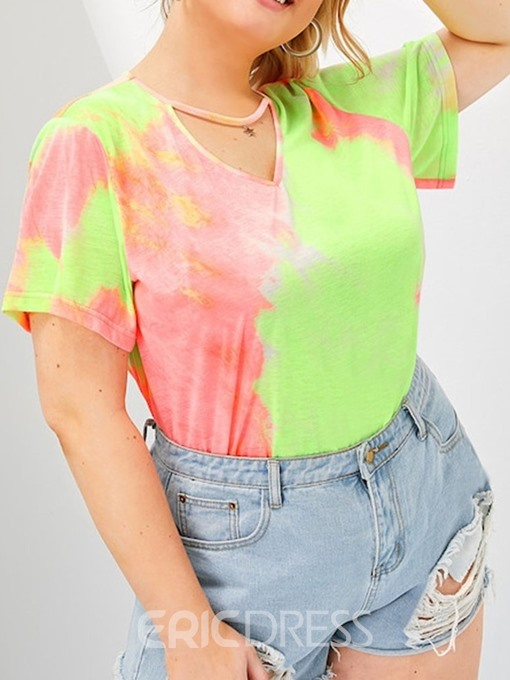 Ericdress Plus Size Color Block Star Casual T-Shirt