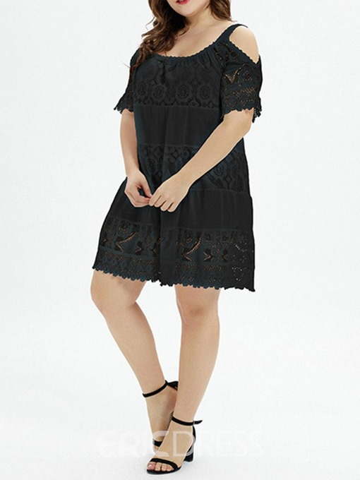 Ericdress Plus Size Lace A-Line Above Knee Short Sleeve Spaghetti Strap Dress