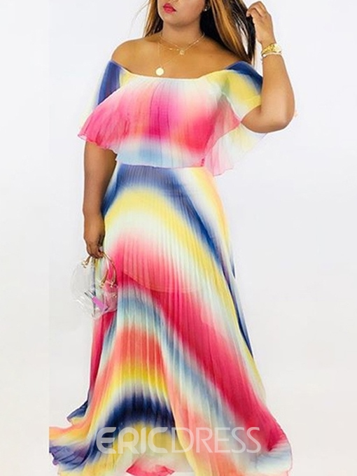 Ericdress Half Sleeve Off Shoulder Floor-Length Pleated Color Block Dress