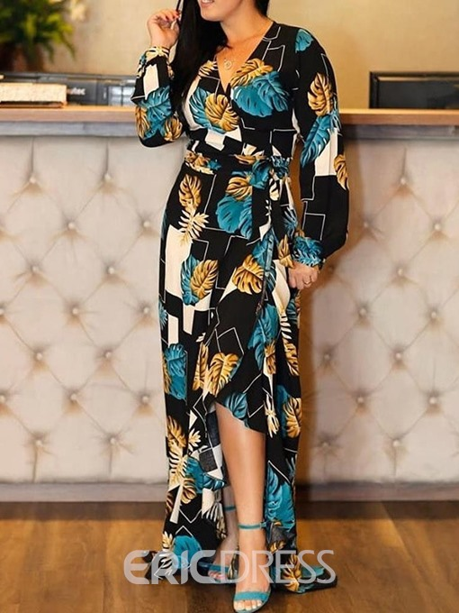Ericdress Floor-Length Asymmetrical Lantern Sleeve Print Standard-Waist Dress