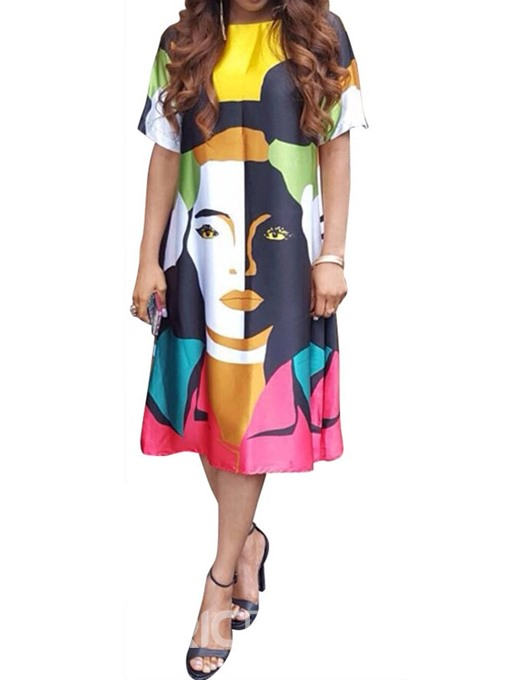 Ericdress Casual Print Mid-Calf Short Sleeve Cartoon Pullover Dress
