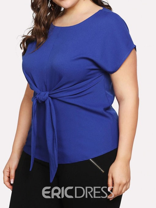 Ericdress Plus Size Round Neck Bowknot Short Sleeve Slim T-Shirt