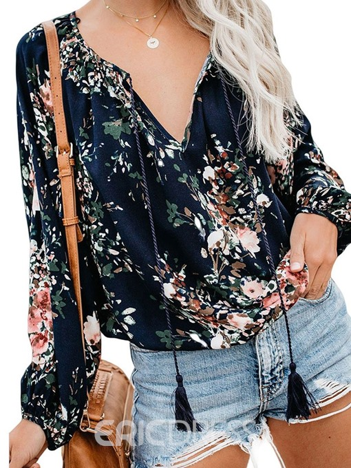 Ericdress Color Block V-Neck Tassel Floral Casual Blouse