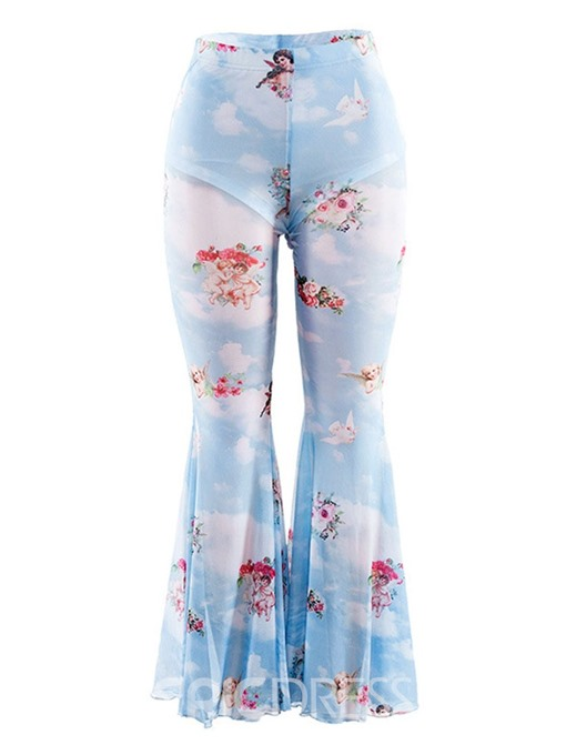 Ericdress Floral Slim Print Bellbottoms See-Through Casual Pants