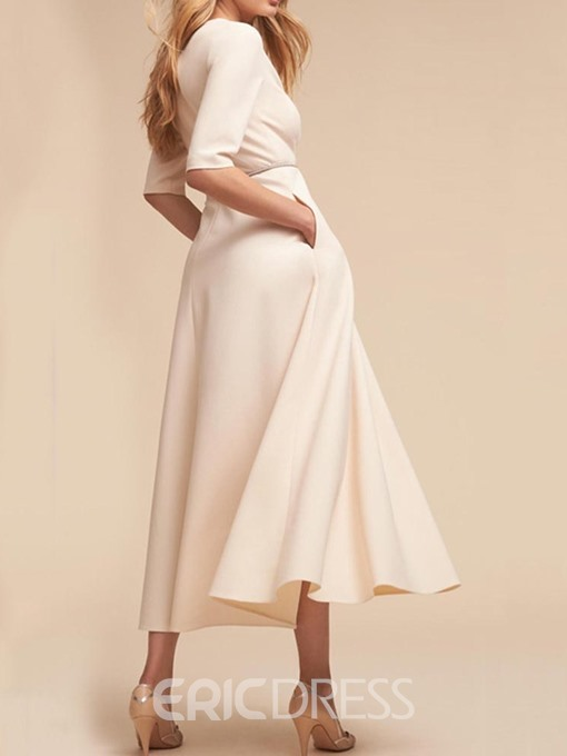 Ericdress Expansion Pocket Half Sleeve V-Neck Summer Plain Dress
