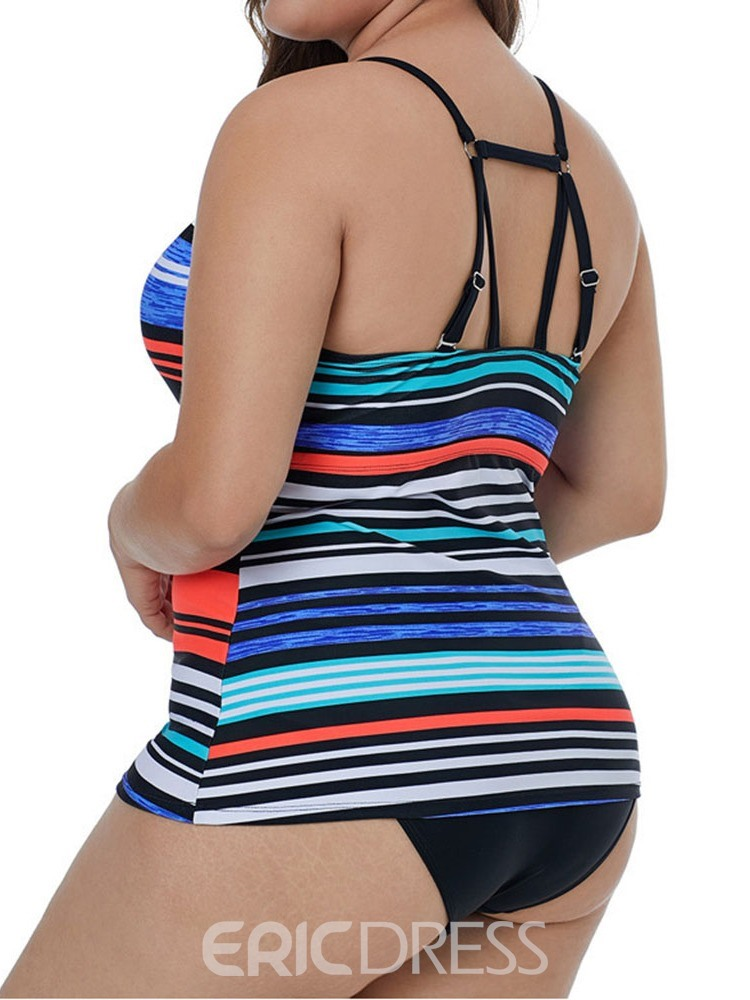 Ericdress Plus Size Stripe Hollow Sexy Swimsuit