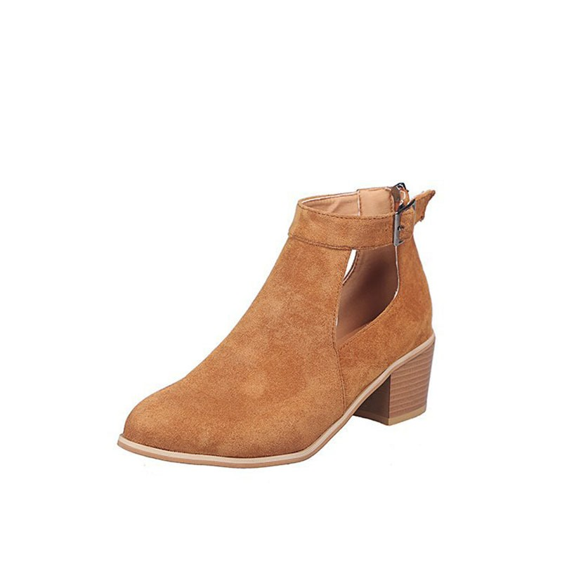 Ericdress Chunky Heel Round Toe Zipper Women's Ankle Boots