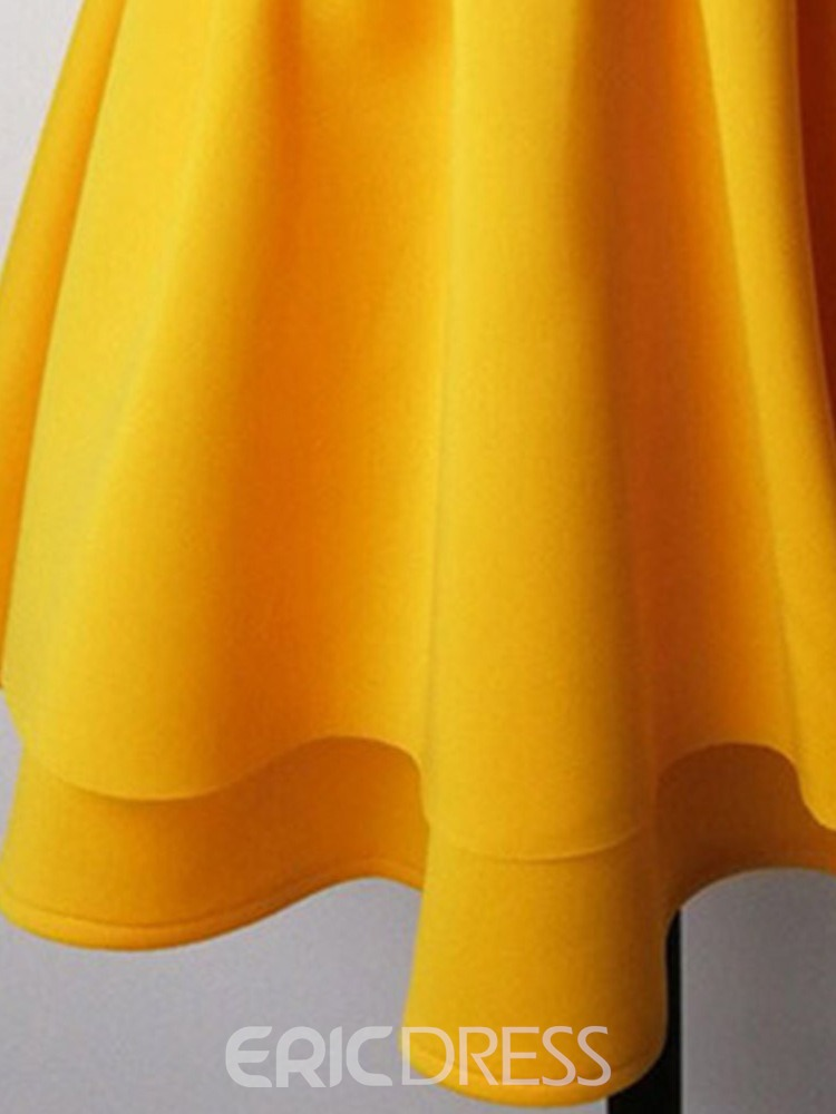 Ericdress Pleated Ruffled Strapless Above Knee Plain Dress(Without Waistband)