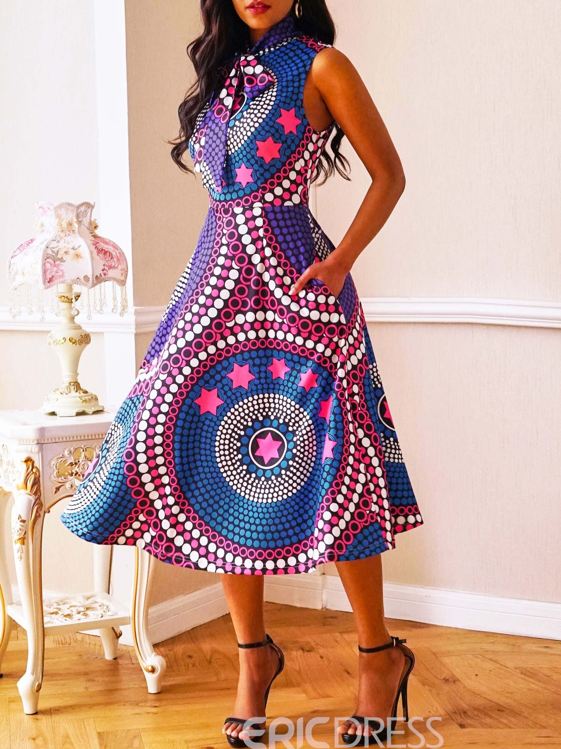 Ericdress Plus Size African Fashion Pocket A-Line Sleeveless ...
