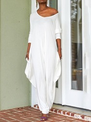 Ericdress White Full Length Backless Baggy Pants Loose Jumpsuit фото