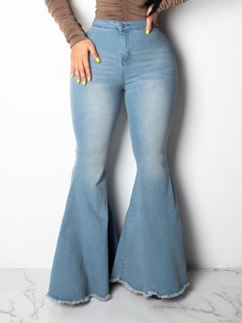 ericdress flare jeans taille basse plaine