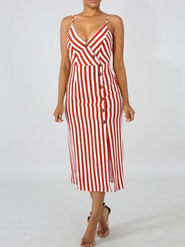 Ericdress Striped Casual Sleeveless Mid-Calf V-Neck Summer Dress
