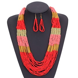Ericdress Color Block Long Drop Jewelry Set