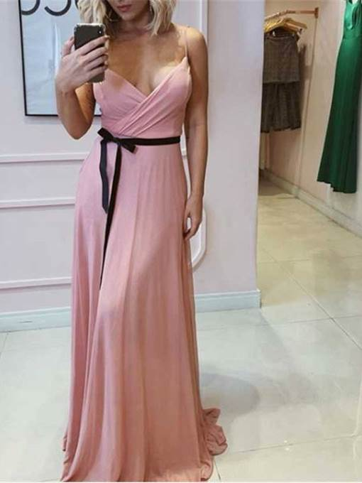 Ericdress Spaghetti Straps Sashes Bridesmaid Dress 2019