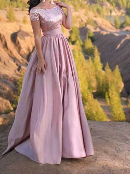 Ericdress Off-The-Shoulder Short Sleeves Sequins Prom Dress 2019