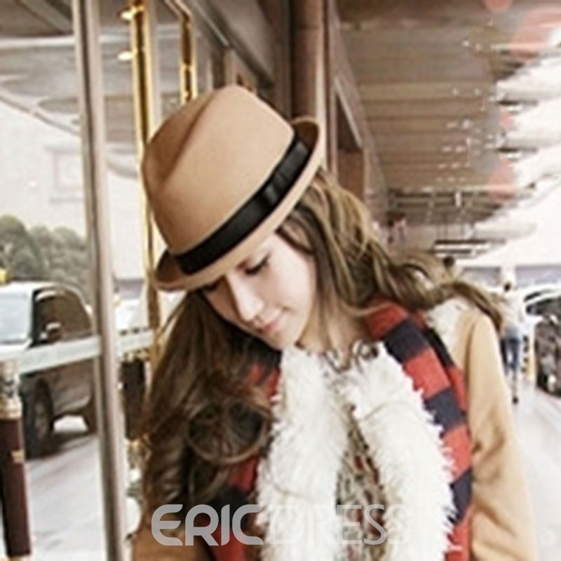 Ericdress Wool Blends Color Block Hat