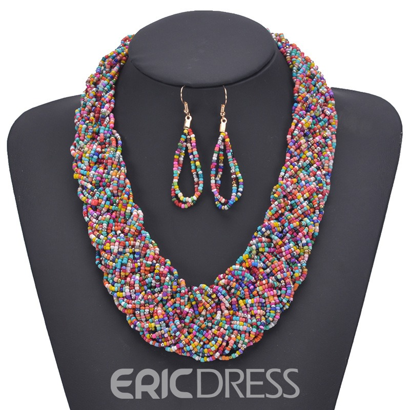Ericdress Woven Necklace Colour Jewelry Set
