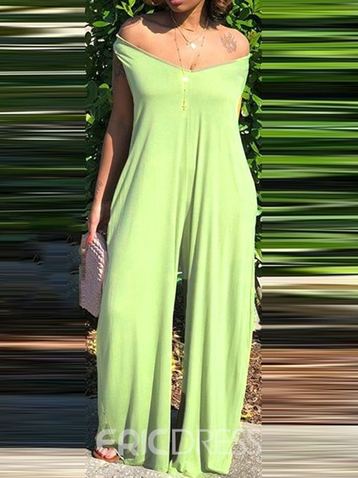 Ericdress Casual Plain Full Length Wide Legs Loose Jumpsuit