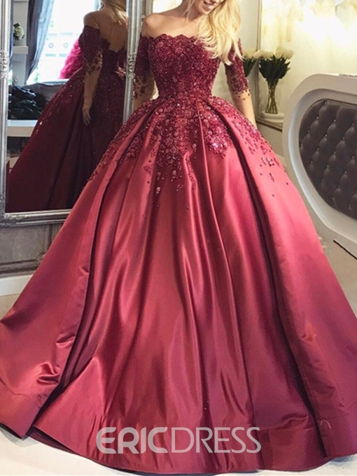 Ericdress Off the Shoulder Ball Gown Long Sleeves Evening Dress