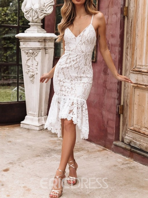 Ericdress Lace V-Neck Sleeveless Asymmetrical Elegant Mid Waist Dress