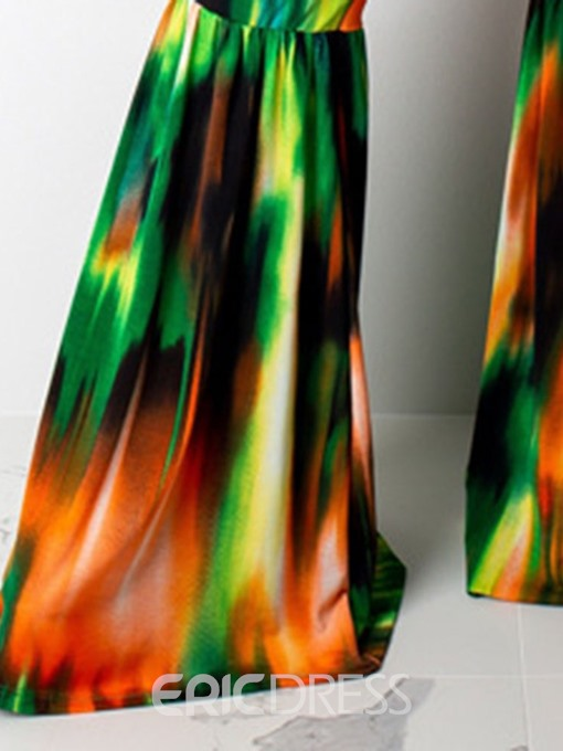 Ericdress Tie-Dye Bellbottoms Full Length Slim High Waist Jumpsuit