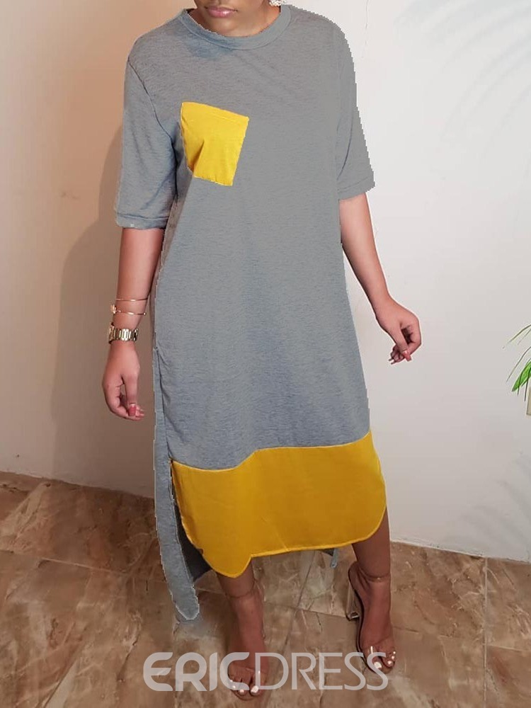 Ericdress Asymmetrical Casual Pocket Round Neck Half Sleeve Dress