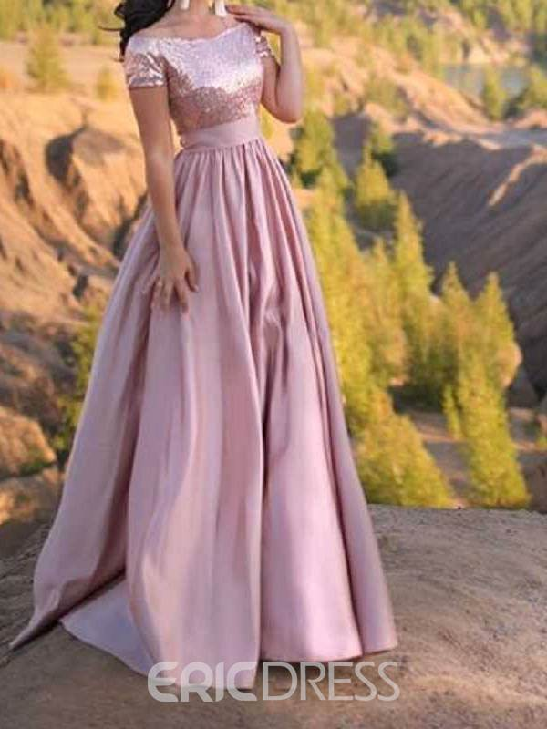 Ericdress Off-The-Shoulder Short Sleeves Sequins Prom Dress