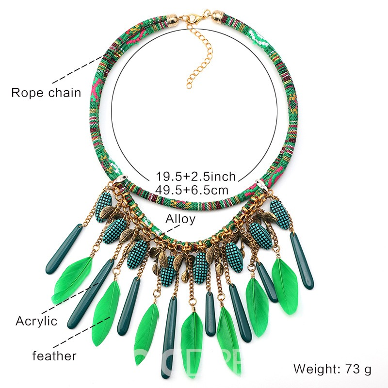 Ericdress Feather Style Ethnic Female Necklace