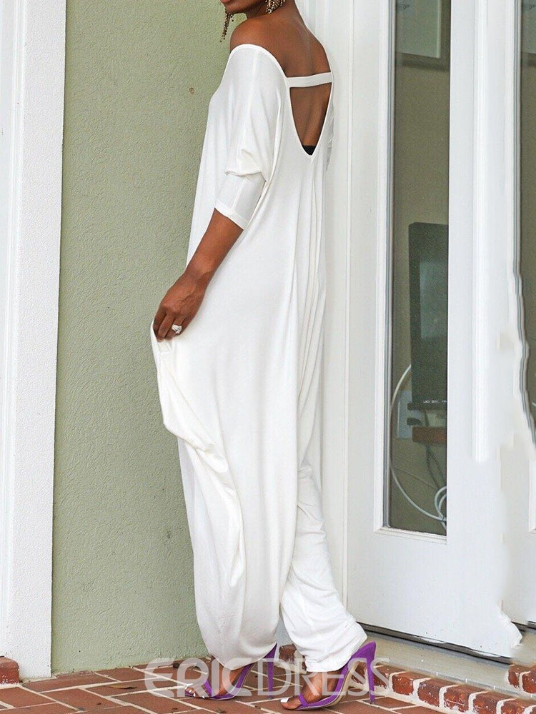 Ericdress White Full Length Backless Baggy Pants Loose Jumpsuit
