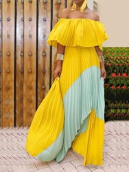 ericdress / Ericdress Asymmetric Off Shoulder Pleated Color Block Expansion Dress