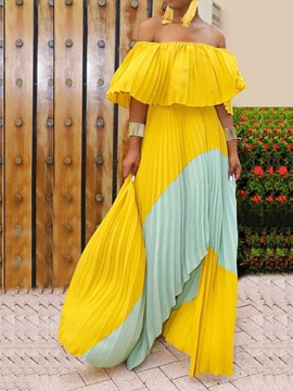 Ericdress Asymmetric Off Shoulder Pleated Color Block Expansion Dress