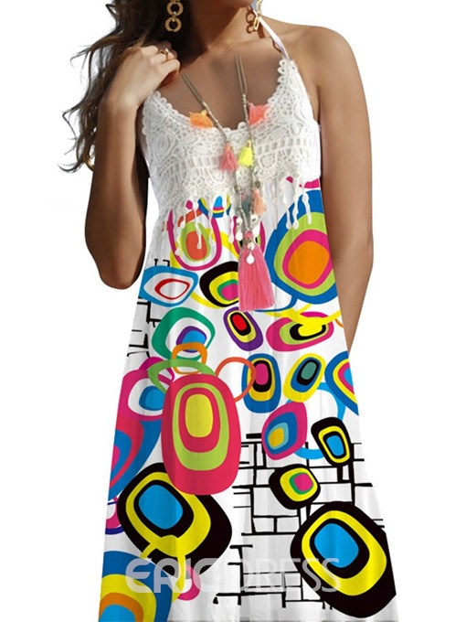 Ericdress Print A-Line Knee-Length Sleeveless Patchwork Halter Dress
