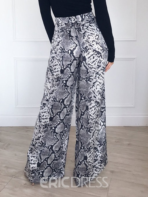 Ericdress Print Loose Mid Waist Full Length Casual Pants