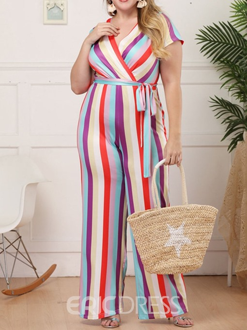 Ericdress Plus Size Stripe Print Casual High Waist Straight Jumpsuit