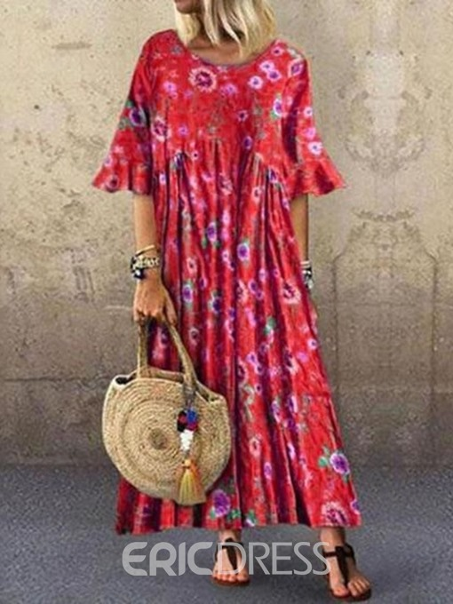 Ericdress Flare Sleeve Print Ankle-Length Round Neck Summer Pullover Dress