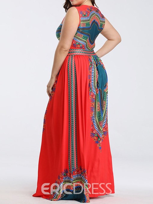 Ericdress Plus Size African Fashion Floor-Length Expansion Sleeveless Summer Dress