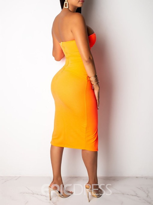 Ericdress Bodycon Strapless Split Plain Mid Waist Orange Dress