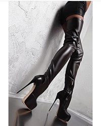 Ericdress Round Toe Side Zipper Platform Stiletto Heel Womens Knee High Boots фото