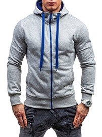 Ericdress Cardigan Zipper Men's Color Block Hoodies