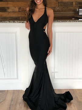 Ericdress Sleeveless Trumpet Floor-Length Court Evening Dress 2019