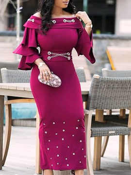 Ericdress Falbala Three-Quarter Sleeve Rivet Off Shoulder Dress
