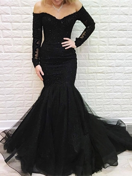 Ericdress Long Sleeves Sweep Train Floor-Length Off-The-Shoulder Evening Dress 2019