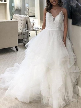 Ericdress Spaghetti Straps Lace Ruffles Wedding Dress 2019