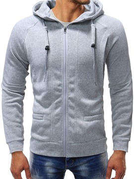 Ericdress Cardigan Fleece Pocket Men's Zipper Hoodies