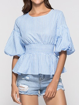 Ericdress Round Neck Lantern Sleeve Plaid Casual Blouse